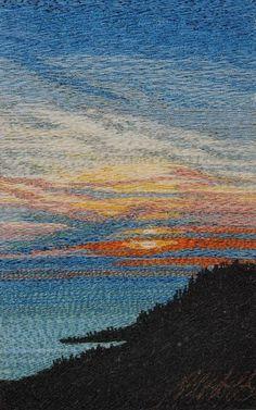 Along The Coast art quilt landscape Thread Art, Thread Painting, Patchwork Quilting, Art Textile, Textile Artists, Weaving Art, Tapestry Weaving, Ocean Quilt, Fiber Art Quilts