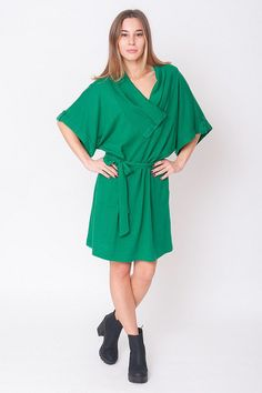 1980's Green Dress  Vintage 80s Emerald Asymmetry by mijumaju