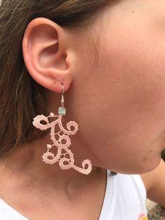 Pink lace earrings,  statement dangle earrings,  bridesmaid gifts cheap, long minimalist earrings, French lace earrings, gifts for women