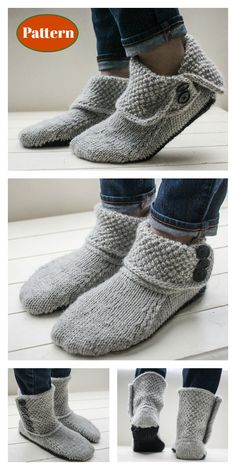Button slipper boots knitting pattern , Button Slipper Boots Knitting Pattern , Booties / Slippers / Socks Source by awesomeknitpatterns Crochet Slipper Boots, Knit Boots, Knitted Slippers, Crochet Shoes, Slipper Socks, Lace Knitting, Knitting Socks, Knitting Stitches, Knitting Patterns Free