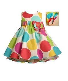 Bonnie Jean Girls Multi-Color Polka Dot BIRTHDAY Party Dress & Headband 18M New #BonnieJean #Dressy