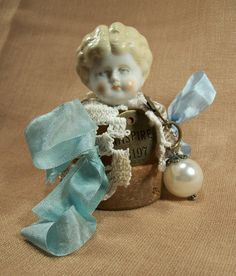 SOLD - Miniature Mixed Media Art Doll Antique Vintage German Doll Head Low Brow Porcelain China Original OOAK Shelf Sitter Decor Pot Baby