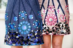 Sequins, laser-cut mirror work and contrast colour threads – these dresses are as intricate as the finest mosaic in Marrakech. The Matthew Williamson pre fall 2015 moroccan mirror mosaic dresses in blue and rose gold. Click to shop the looks.