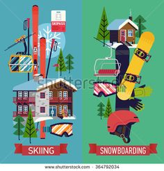 Cool vector vertical web banners, posters or flyer templates on skiing and snowboarding in flat design with skis, snowboard, helmet, ski resort mountain lodge and warming cabin, chairlift and more