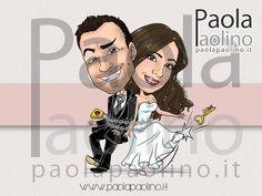 La caricatura di due sposi incatenati in abito del matrimonio, mentre la sposa getta via la chiave!