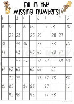 Fill in the missing numbers grids to 100 - 20 different sheets