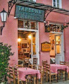 Greece Art & Architecture - Taverna in Athens, Greece Mykonos, Santorini, Places Around The World, Around The Worlds, Beautiful World, Beautiful Places, Greek Isles, Athens Greece, Greece Art
