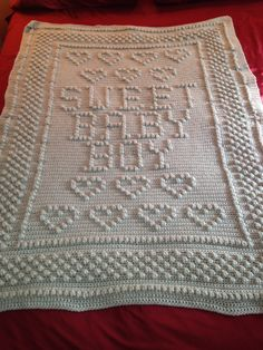 Sweet Baby Boy afghan for my grandson. Mary Maxim pattern.