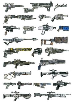 The Force Awakens firearms, an art print by Marta Dasic - INPRNT Star Wars Guns, Star Wars Rpg, Star Wars Ships, Star Wars Clone Wars, Star Wars Characters Pictures, Star Wars Pictures, Star Wars Images, Star Wars Concept Art, Weapon Concept Art