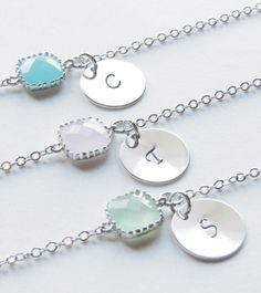 Birthstone and Initial Bracelet