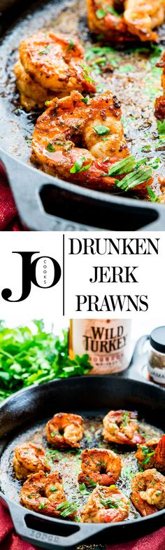 Drunken Jerk Prawns - are there any other kind? These prawns will blow your mind, beautifully seared plump and juicy shrimp marinated in a easy bourbon and jerk spice marinade. Simple and succulent with a bit of a kick.