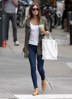 skinny jeans, tan heels, utility coat, and white top