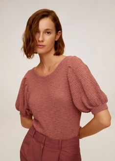 Knitted fabric Fabric with cotton Cropped design Rounded neck Puffed short sleeve Bow fastening on the back Mango Online Shop, Fashion Moda, Two Piece Outfit, Short Tops, Sleeve Designs, Sweater Outfits, Latest Fashion Trends, Passion For Fashion, Knitwear
