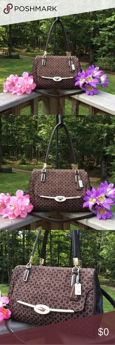 COACH Large Satchel w/Shoulder/CrossBody Strap Guaranteed authentic or your money is refunded in full. Beautiful Coach Large sz. Satchel.  Pic#5 shows it next to a regular size 12oz pop can for a visual size comparison. Bag has zipper closure and also has a large turn-lock pocket on the front. Bag comes with adjustable & removable leather cross body shoulder strap.  Bag has engraved COACH and a horse & carriage on front turn lock. 2- Coach Hangtags. Bag is in perfect condition. Looks great…