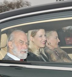 The Queen's cousin Prince Michael of Kent was joined by his daughter Lady Gabriella Windsor (centre) and wife Princess Michael Royal Christmas, Family Christmas, Prince Michael Of Kent, Zara Phillips, House Of Windsor, Visit Canada, Extended Family, Prince And Princess, Buckingham Palace