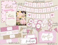 Glitter Girl Sparkle Party Pink and Gold by RachellesPrintables, $28.00