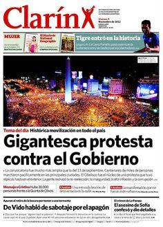 Protesta contra el Gobierno de CFK - 08.11.12 (Clarín - Argentina - 09.11.12).