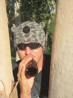 Animal hat beanie koala winter chunky wool, large men's size