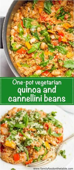 Quinoa cannellini beans skillet is a quick and easy one-pot vegetarian meal with rich Italian flavors! Quinoa cannellini beans skillet is a quick and easy one-pot vegetarian meal with rich Italian flavors! Vegan Keto, Tasty Vegetarian, Vegetarian Recipes Dinner, Healthy Recipes, Vegetarian Cooking, Vegan Breakfast Recipes, Paleo Diet, Vegan Food, Healthy Eats