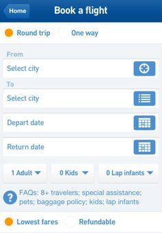 jetBlue App - Book Flight