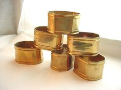 Vtg Brass Oval Napkin Rings seller florasgarden Lot of 6 Gold Tone