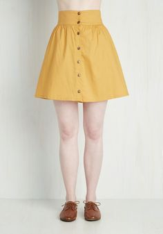Curry Your Enthusiasm Skirt in Marigold. Brighten your daily prospects by infusing your wardrobe with this marigold-yellow skirt. #yellow #modcloth