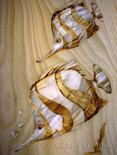 Marquetry: Butterflyfish. Check other inlays, wood and stone medallions, borders and parquet from Czar Floors.
