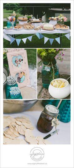 An adorable DIY backyard wedding reception! Love the bunting, pies