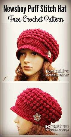 Newsboy Puff Stitch Hat Free Crochet Pattern