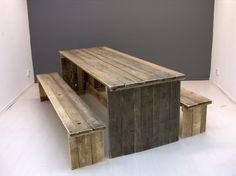 Tafel van sloophout met gesloten zijkanten  (22131504)