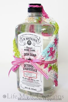 Crochet Dishcloths with a bottle of soap **thanks so much for pinning me ♥