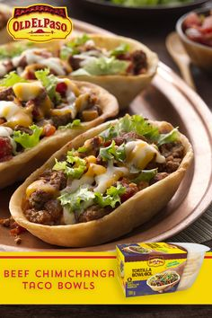 Taking Tex-Mex to a whole new level, the deep-fried goodness of a chimichanga is always a favourite when eating out. Try this easier take on a chimichanga by frying Old El Paso™ Tortilla Bowls and filling them with your favourite toppings! Casserole Recipes, Meat Recipes, Mexican Food Recipes, Chicken Recipes, Dinner Recipes, Cooking Recipes, Recipies, Chimichanga, Tex Mex