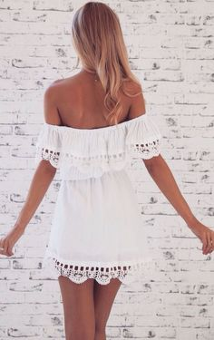 little white off the shoulder dress