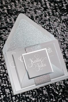 ADELE Suite Glitter Package, all silver wedding invitations, silver foil stamping, silver glitter, silver envelopes, luxury black tie wedding invitations