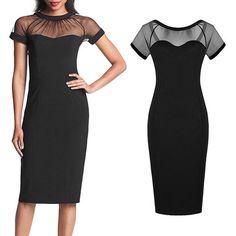 See-Through Round Neck V-Shaped Back Dress – Dress Me Good