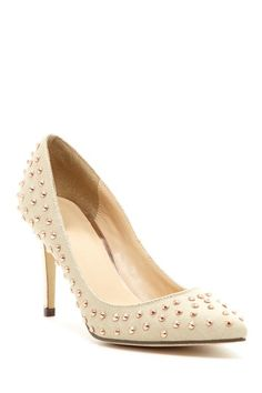 These were too cheap not to buy. Canvas and gold studs, what more could you want? Michael Antonio Raquelle Studded Heel by Pumps Up To 75% Off on @HauteLook