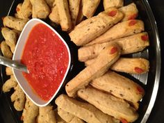 "Catering for NYC #ParaNorman premiere party - Multigrain ""Finger"" Breadsticks with Bloody Marinara Dip Freshmade NYC www.freshmadenyc.com"