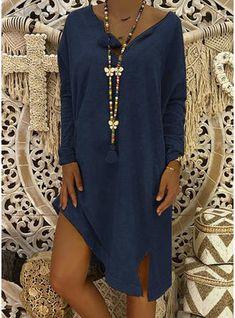 Casual Knee Length V-neck Cotton Blends Long Sleeves Solid Shift Dresses, veryvoga Robes Orange, Looks Chic, Online Dress Shopping, V Neck Dress, Types Of Sleeves, Casual Dresses, Plus Size, Long Sleeve, Womens Fashion
