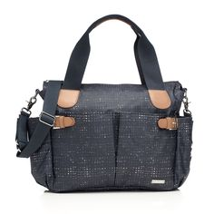 """A fashion-forward bag, trimmed in real leather and with gorgeous hardware, but with all the ease you need as a mom. Details + Dimensions: - 11"""" h x 15"""" w x 5"""" d - Coated canvas - Trimmed with leather"""