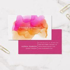 Sunset Watercolor Blot Business Card