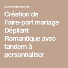 Création de Faire-part mariage Dépliant Romantique avec tandem à personnaliser
