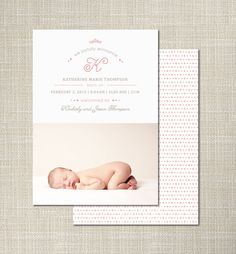 """25 Customized Birth Announcements """"Aerial"""". $50.00, via Etsy."""