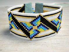 Eagle Loom Bracelet, Bead Loom Bracelet, Red White Blue Bracelet, Womens Bracelet, Adjustable Loom Bracelet from BeadWorkBySmileyKit on Etsy. Beaded Cuff Bracelet, Bead Loom Bracelets, Adjustable Bracelet, Bead Loom Patterns, Bracelet Patterns, Beading Patterns, Seed Bead Jewelry, Beaded Jewelry, Loom Beading
