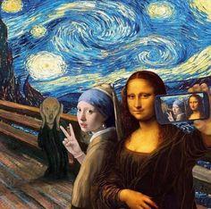 Mona Lisa Starry Night Selfie