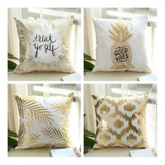 Luxury gold foil pillows for living room leaves decorative throw pillows Grey Couches, Gold Foil, Decorative Throw Pillows, Cushions, Leaves, Living Room, Future, Interior, Ideas
