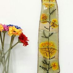 """New! Painting on glass and wood back. Measures 18""""x4""""."""