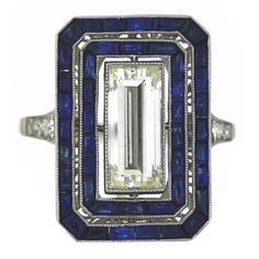 Art Deco Diamond and Sapphire Ring | From a unique collection of vintage cocktail rings at https://www.1stdibs.com/jewelry/rings/cocktail-rings/