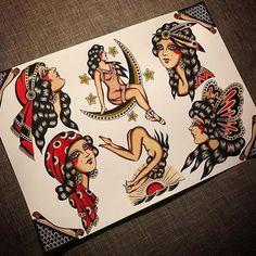 Old School Inspiration Flash Art Tattoos, Pin Up Tattoos, Head Tattoos, Sleeve Tattoos, Traditional Tattoo Woman, Traditional Tattoo Old School, Traditional Tattoo Design, Traditional Gypsy Tattoos, Traditional Tattoo Flash Art
