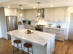 Favorite Non-White Kitchen Cabinet Paint Colors - Revere Pewter (Benjamin Moore) Farmhouse Kitchen Cabinets, Kitchen Cabinet Colors, Cabinet Decor, Painting Kitchen Cabinets, Kitchen Paint, Kitchen Colors, New Kitchen, Cabinet Makeover, Cabinet Ideas