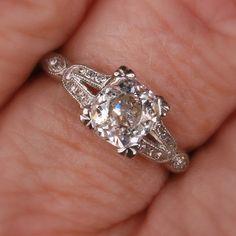 Platinum Diamond Art Deco engagement ring. $6,300.00, via Etsy.